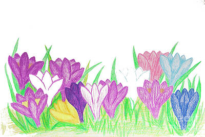 Painting - Crocuses Of Different Colours  by Irina Afonskaya