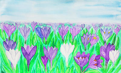 Painting - Crocuses, Painting, Watercolor by Irina Afonskaya