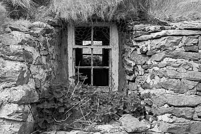 Berneray Photograph - Croft Window - B/w by Michael Blanchette