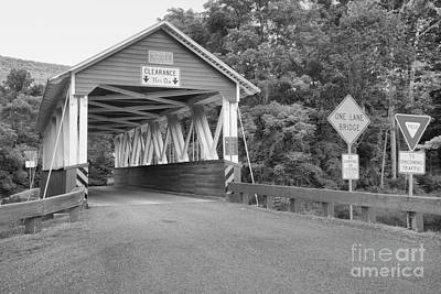 Photograph - Cromwell Township Covered Bridge Black And White by Adam Jewell