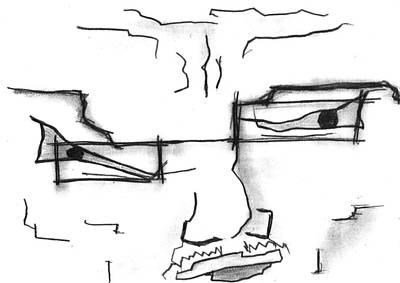 Drawing - Crooked Face Man by Matt Harang