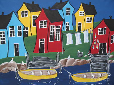 Blue Bouys Painting - Crooked House Bay by Beverly Livingstone
