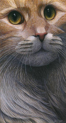 Cat Artwork Painting - Cropped Cat 4 by Carol Wilson