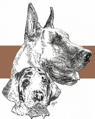 Cropped Great Dane And Pup Art Print