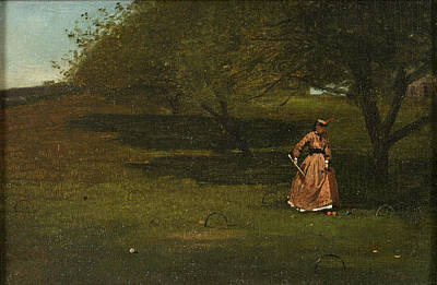 Winslow Homer Painting - Croquet Player by Winslow Homer