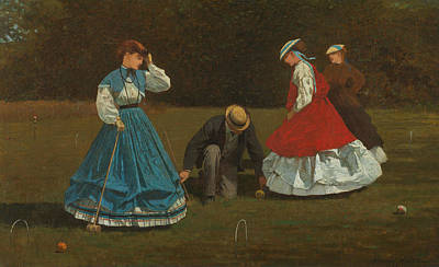 Croquet Scene Art Print by Winslow Homer