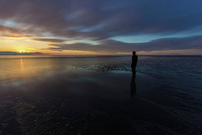 Photograph - Crosby Beach Iron Man Sunset by Paul Madden
