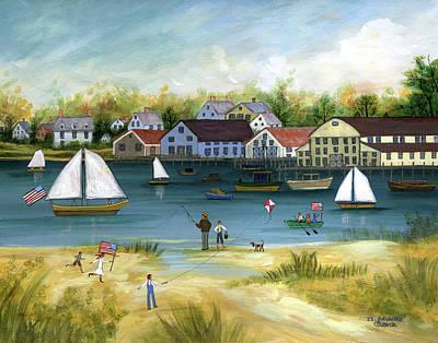 Kite Fishing Painting - Crosby Boatyard, Cape Cod by Janet Munro