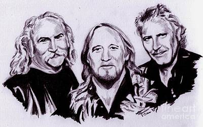 Drawing - Crosby Stills And Nash by Toon De Zwart