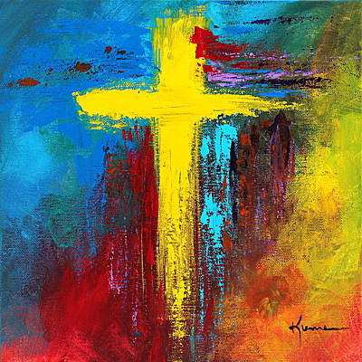 Colorful Abstract Painting - Cross 2 by Kume Bryant