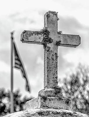 Photograph - Cross And American Flag Bw by Kathleen K Parker