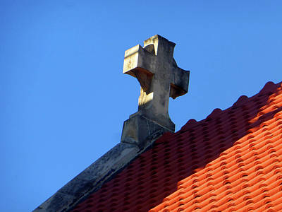Photograph - Cross And Brick Roofing by Tina M Wenger