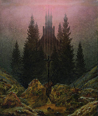 Church Painting - Cross And Cathedral In The Mountains by Caspar David Friedrich