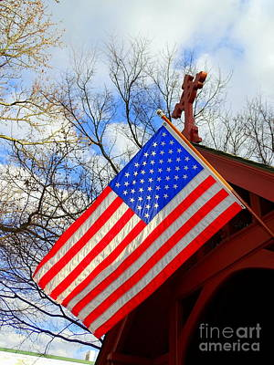Photograph - Cross And Flag by Ed Weidman
