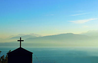 Photograph - Cross And Foggy Moutains In Greece by Susan Vineyard