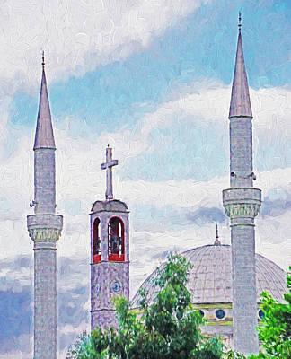 Digital Art - Cross And Minarets by Dennis Cox