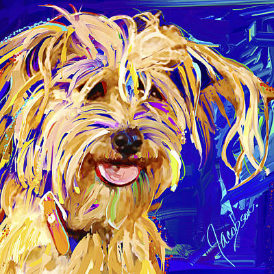 Dogs Painting - Cross Breed 5 - Diz by Jackie Jacobson