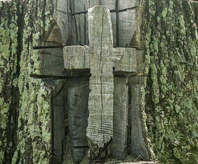 Photograph - Cross Carved In Tree by Douglas Barnett