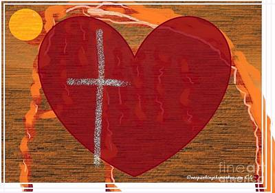 Faith Hope And Love Painting - Cross by Catherine Lott
