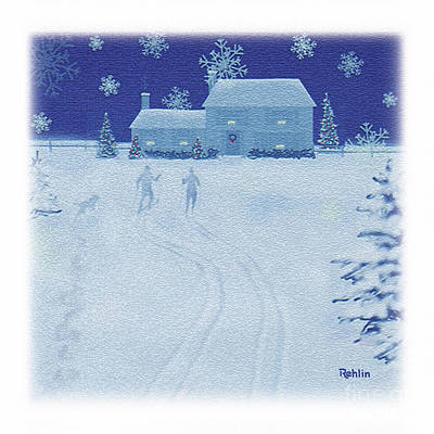 Snowy Night Drawing - Cross-country / Mugs, Totes, Pillows, Towels by Jim Rehlin