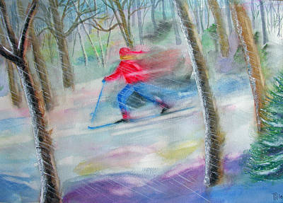 Park Scene Painting - Cross Country Ski by Robert P Hedden