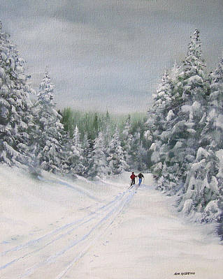 Ski Painting - Cross Country Skiers by Ken Ahlering