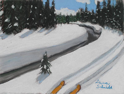 Painting - Cross Country Skiing Lone Star Geyser Trail In Yellowstone Nat. Park by Dana Schmidt