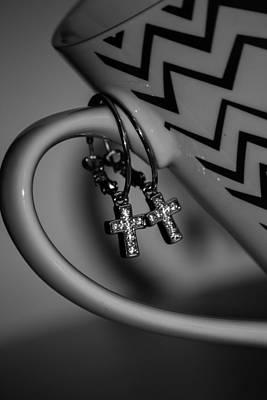 Photograph - Cross Hoop Earrings In Black And White by Ester Rogers