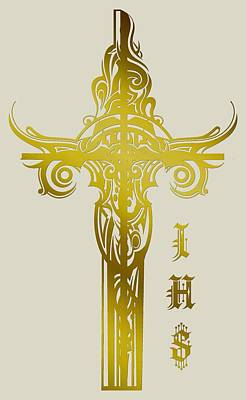 Photograph - Cross Ihs Gold by Robert G Kernodle