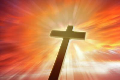 Hope Digital Art - Cross In Sky by Les Cunliffe