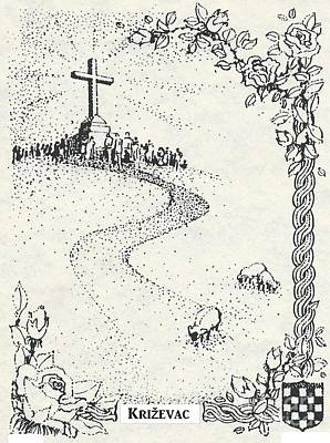 Drawing - Cross Mt, Medjugorje  by Christina Verdgeline