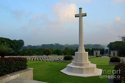 Photograph - Cross Of Sacrifice And Tombstones At World War Two Soldiers Kranji War Cemetery Singapore by Imran Ahmed