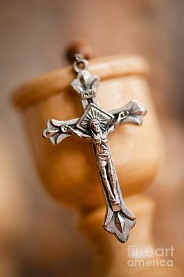 Cross On Candlestick Blurred Rosary Art Print by Arletta Cwalina