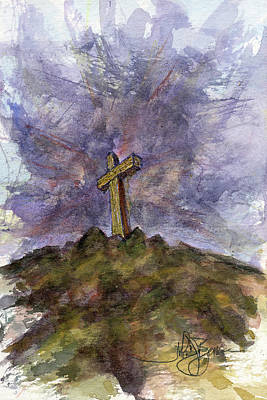 Painting - Cross On Hill by John D Benson