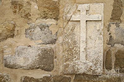 Medieval Photograph - Cross On Medieval Church Wall by Angelo DeVal