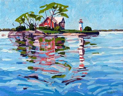 St. Lawrence River Painting - Cross-over Island by Phil Chadwick