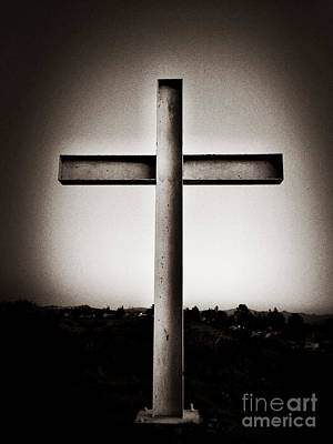 Photograph - Cross Standing Against Sky by Bryan Mullennix