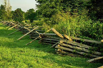 Photograph - Cross Tie Fence In Morning Sunlight by Douglas Barnett