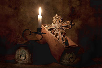 Candles Photograph - Cross by Tom Mc Nemar