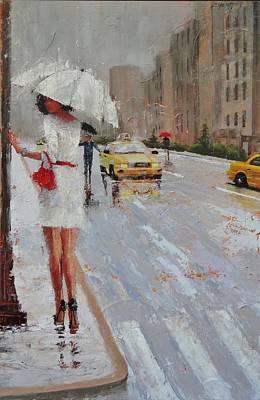Umbrella Painting - Cross Walk by Laura Lee Zanghetti