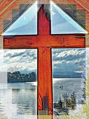 Cross Window Lake View  Art Print