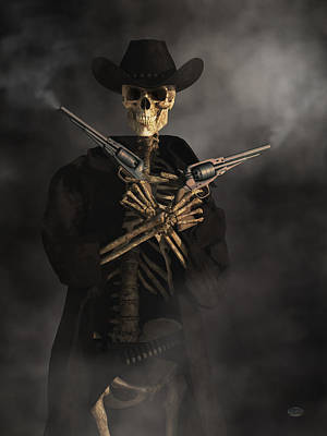 Gun Fighter Digital Art - Crossbones by Daniel Eskridge