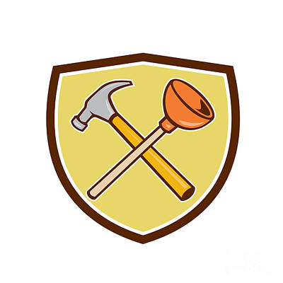 Plunger Digital Art - Crossed Hammer Plunger Crest Cartoon  by Aloysius Patrimonio