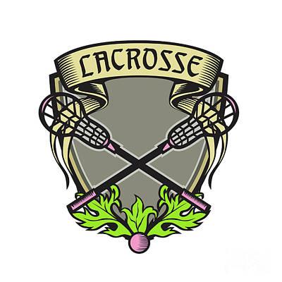 Crossed Lacrosse Stick Coat Of Arms Crest Woodcut Art Print