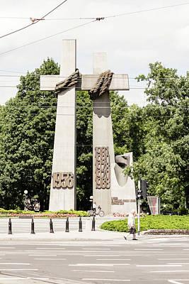 Photograph - Crosses Commemorating The 1956 Protests In Poznan Poland A by Jacek Wojnarowski