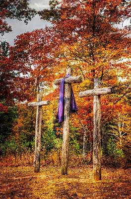 Crosses On The Hill Art Print by Debra and Dave Vanderlaan