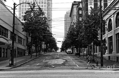 Crossing An Empty Street Mono Art Print by John Rizzuto