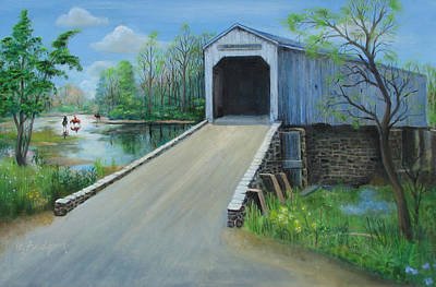 Covered Bridge Painting - Crossing At The Covered Bridge by Oz Freedgood