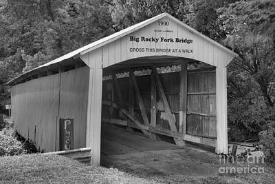 Photograph - Crossing Big Rocky Fork Creek Black And White by Adam Jewell