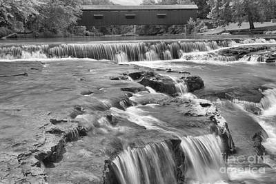Photograph - Crossing Cataract Falls Golden Cascades Black And White by Adam Jewell